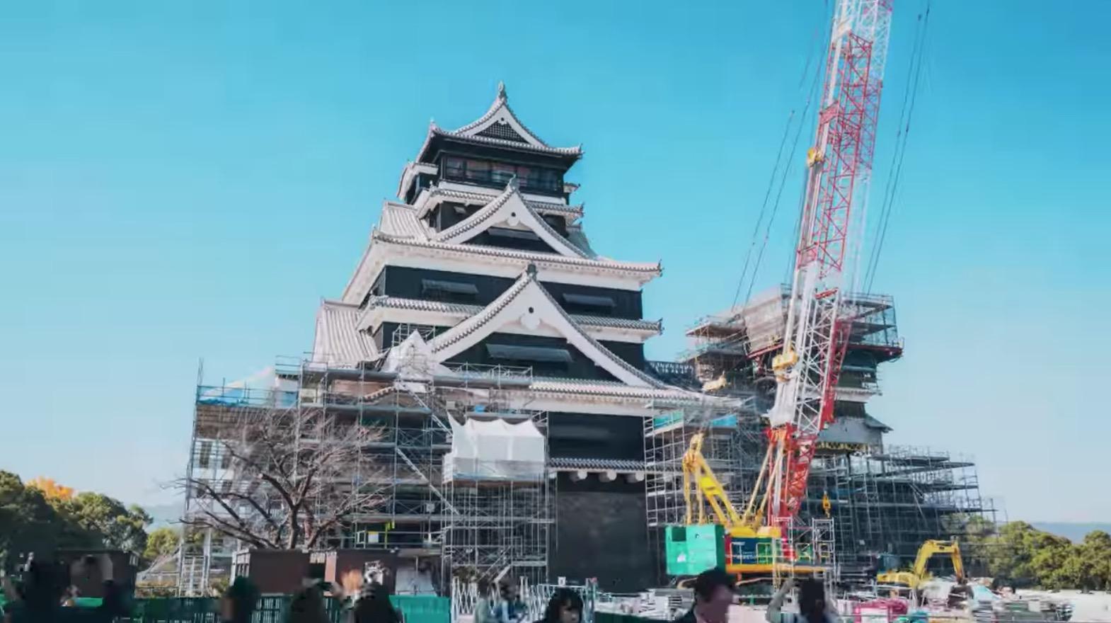 熊本城を見てきたよ。修復作業が進められているカッコイイ姿ば見に行かなんばい!!